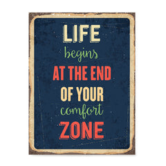 Ezposterprints - Comfort Zone Navy | Retro Metal Design Signs Posters