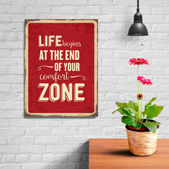 Ezposterprints - Comfort Zone Red | Retro Metal Design Signs Posters - 12x16 ambiance display photo sample