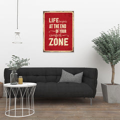 Ezposterprints - Comfort Zone Red | Retro Metal Design Signs Posters - 24x32 ambiance display photo sample