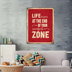 Ezposterprints - Comfort Zone Red | Retro Metal Design Signs Posters - 36x48 ambiance display photo sample