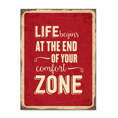 Ezposterprints - Comfort Zone Red | Retro Metal Design Signs Posters