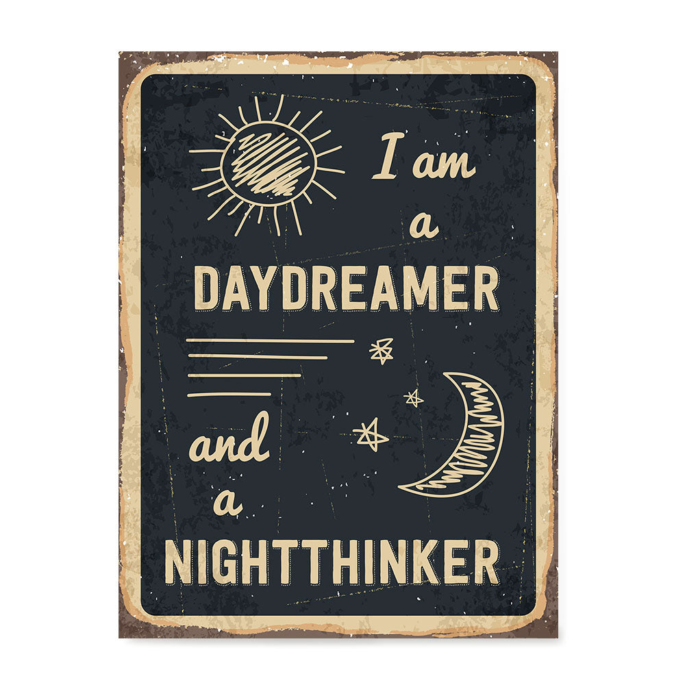 Ezposterprints - Daydreamer Black | Retro Metal Design Signs Posters