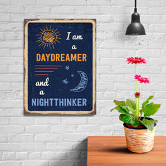 Ezposterprints - Daydreamer Navy | Retro Metal Design Signs Posters - 12x16 ambiance display photo sample