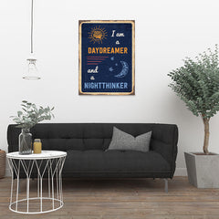 Ezposterprints - Daydreamer Navy | Retro Metal Design Signs Posters - 24x32 ambiance display photo sample