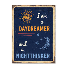 Ezposterprints - Daydreamer Navy | Retro Metal Design Signs Posters