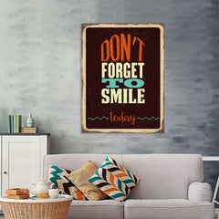 Ezposterprints - Dont Forget Smile | Retro Metal Design Signs Posters - 36x48 ambiance display photo sample