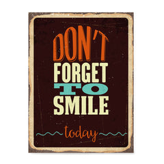 Ezposterprints - Dont Forget Smile | Retro Metal Design Signs Posters