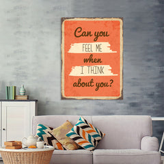 Ezposterprints - Feel Me Orange | Retro Metal Design Signs Posters - 36x48 ambiance display photo sample