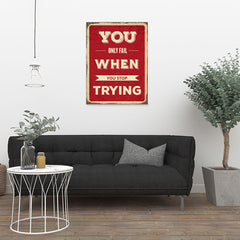 Ezposterprints - Keep Trying | Retro Metal Design Signs Posters - 24x32 ambiance display photo sample