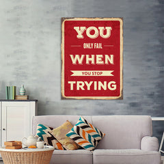 Ezposterprints - Keep Trying | Retro Metal Design Signs Posters - 36x48 ambiance display photo sample