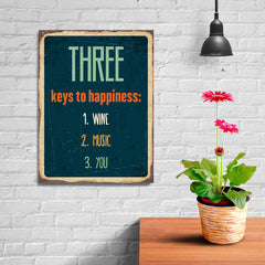 Ezposterprints - Keys For Happiness Navy | Retro Metal Design Signs Posters - 12x16 ambiance display photo sample