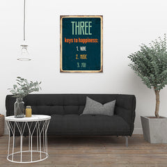 Ezposterprints - Keys For Happiness Navy | Retro Metal Design Signs Posters - 24x32 ambiance display photo sample