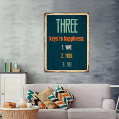 Ezposterprints - Keys For Happiness Navy | Retro Metal Design Signs Posters - 36x48 ambiance display photo sample