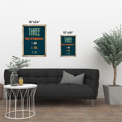 Ezposterprints - Keys For Happiness Navy | Retro Metal Design Signs Posters ambiance display photo sample