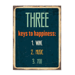 Ezposterprints - Keys For Happiness Navy | Retro Metal Design Signs Posters