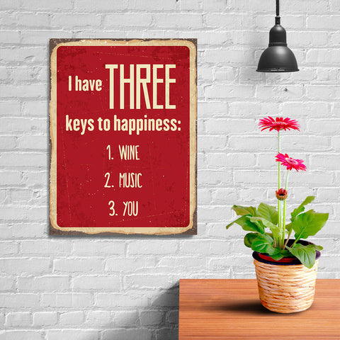 Ezposterprints - Keys For Happiness Red | Retro Metal Design Signs Posters - 12x16 ambiance display photo sample
