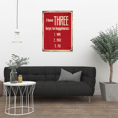 Ezposterprints - Keys For Happiness Red | Retro Metal Design Signs Posters - 24x32 ambiance display photo sample