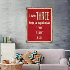 Ezposterprints - Keys For Happiness Red | Retro Metal Design Signs Posters - 36x48 ambiance display photo sample