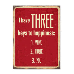 Ezposterprints - Keys For Happiness Red | Retro Metal Design Signs Posters