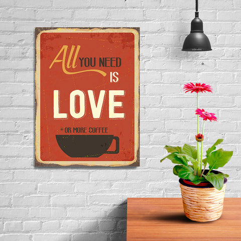 Ezposterprints - Love Or More Coffee | Retro Metal Design Signs Posters - 12x16 ambiance display photo sample