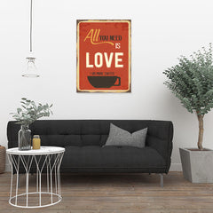 Ezposterprints - Love Or More Coffee | Retro Metal Design Signs Posters - 24x32 ambiance display photo sample