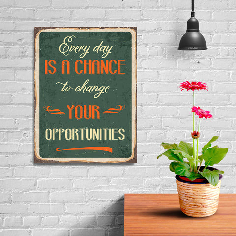 Ezposterprints - Opportunities Green | Retro Metal Design Signs Posters - 12x16 ambiance display photo sample