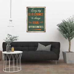 Ezposterprints - Opportunities Green | Retro Metal Design Signs Posters - 24x32 ambiance display photo sample