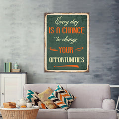 Ezposterprints - Opportunities Green | Retro Metal Design Signs Posters - 36x48 ambiance display photo sample