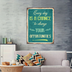 Ezposterprints - Opportunities Turquoise | Retro Metal Design Signs Posters - 36x48 ambiance display photo sample