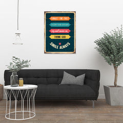 Ezposterprints - Smile Always | Retro Metal Design Signs Posters - 24x32 ambiance display photo sample