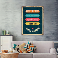 Ezposterprints - Smile Always | Retro Metal Design Signs Posters - 36x48 ambiance display photo sample
