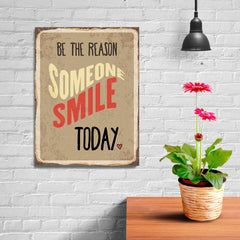 Ezposterprints - Smile Today Beige | Retro Metal Design Signs Posters - 12x16 ambiance display photo sample