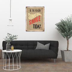 Ezposterprints - Smile Today Beige | Retro Metal Design Signs Posters - 24x32 ambiance display photo sample