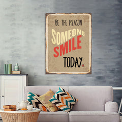 Ezposterprints - Smile Today Beige | Retro Metal Design Signs Posters - 36x48 ambiance display photo sample