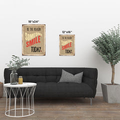 Ezposterprints - Smile Today Beige | Retro Metal Design Signs Posters ambiance display photo sample
