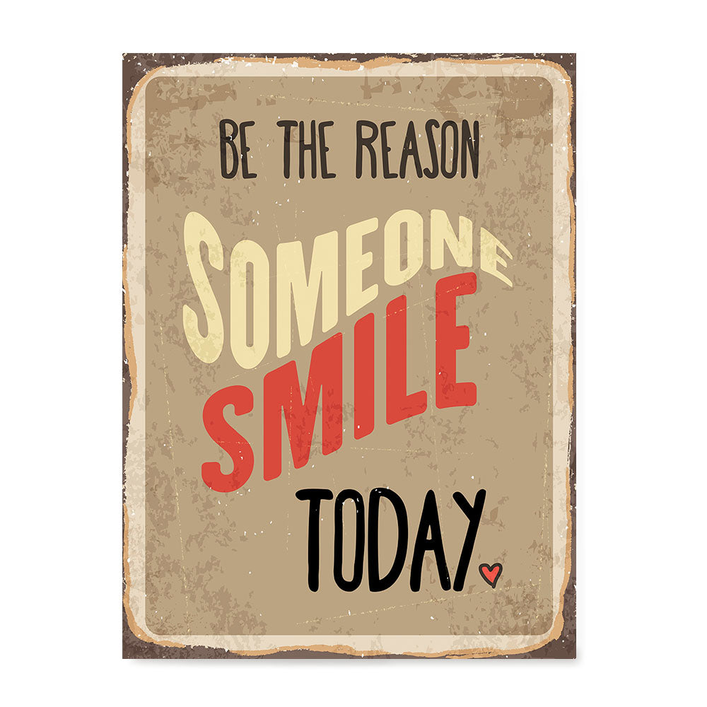 Ezposterprints - Smile Today Beige | Retro Metal Design Signs Posters