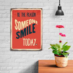 Ezposterprints - Smile Today Red | Retro Metal Design Signs Posters - 12x16 ambiance display photo sample