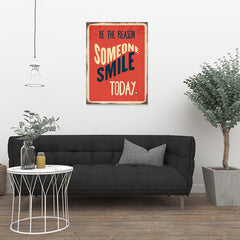 Ezposterprints - Smile Today Red | Retro Metal Design Signs Posters - 24x32 ambiance display photo sample