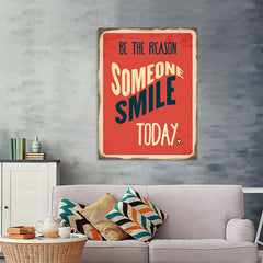 Ezposterprints - Smile Today Red | Retro Metal Design Signs Posters - 36x48 ambiance display photo sample