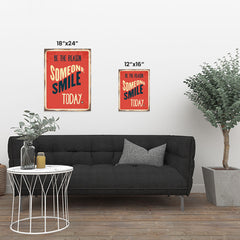 Ezposterprints - Smile Today Red | Retro Metal Design Signs Posters ambiance display photo sample