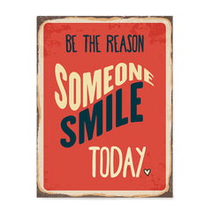 Ezposterprints - Smile Today Red | Retro Metal Design Signs Posters