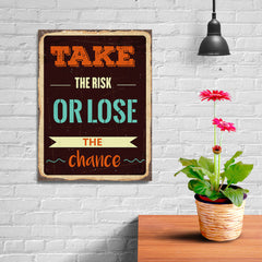 Ezposterprints - Take Risk | Retro Metal Design Signs Posters - 12x16 ambiance display photo sample