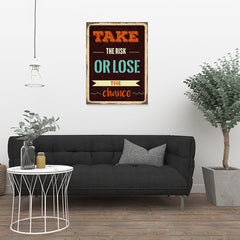 Ezposterprints - Take Risk | Retro Metal Design Signs Posters - 24x32 ambiance display photo sample