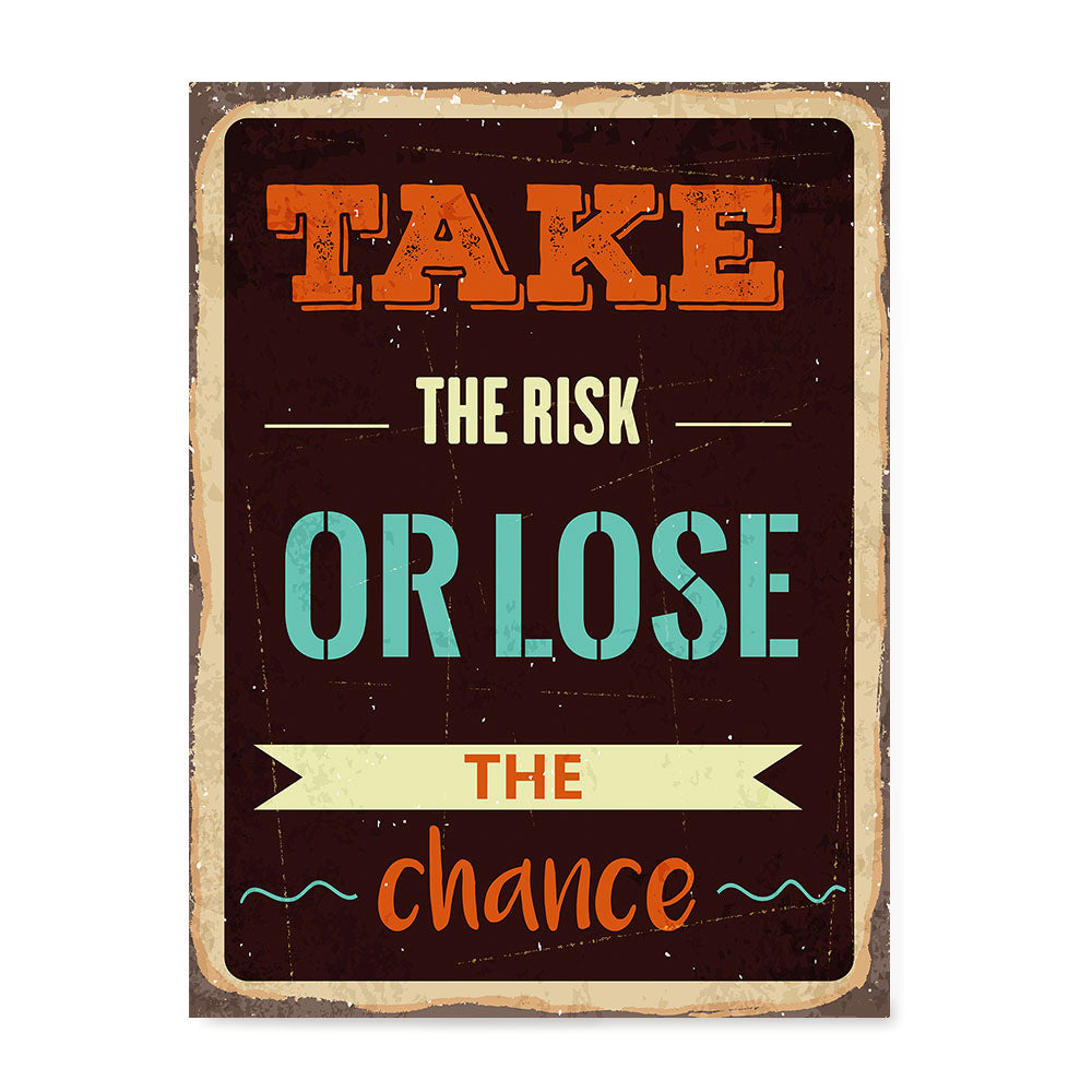 Ezposterprints - Take Risk | Retro Metal Design Signs Posters