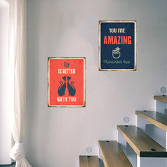 Ezposterprints - Keys For Happiness Navy | Retro Metal Design Signs Posters general ambiance photo sample