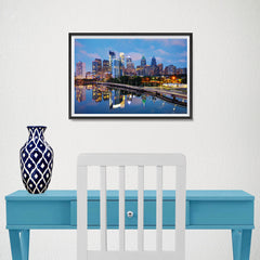 Ezposterprints - Philadelphia Skyline at Night - 18x12 ambiance display photo sample