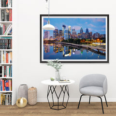 Ezposterprints - Philadelphia Skyline at Night - 48x32 ambiance display photo sample