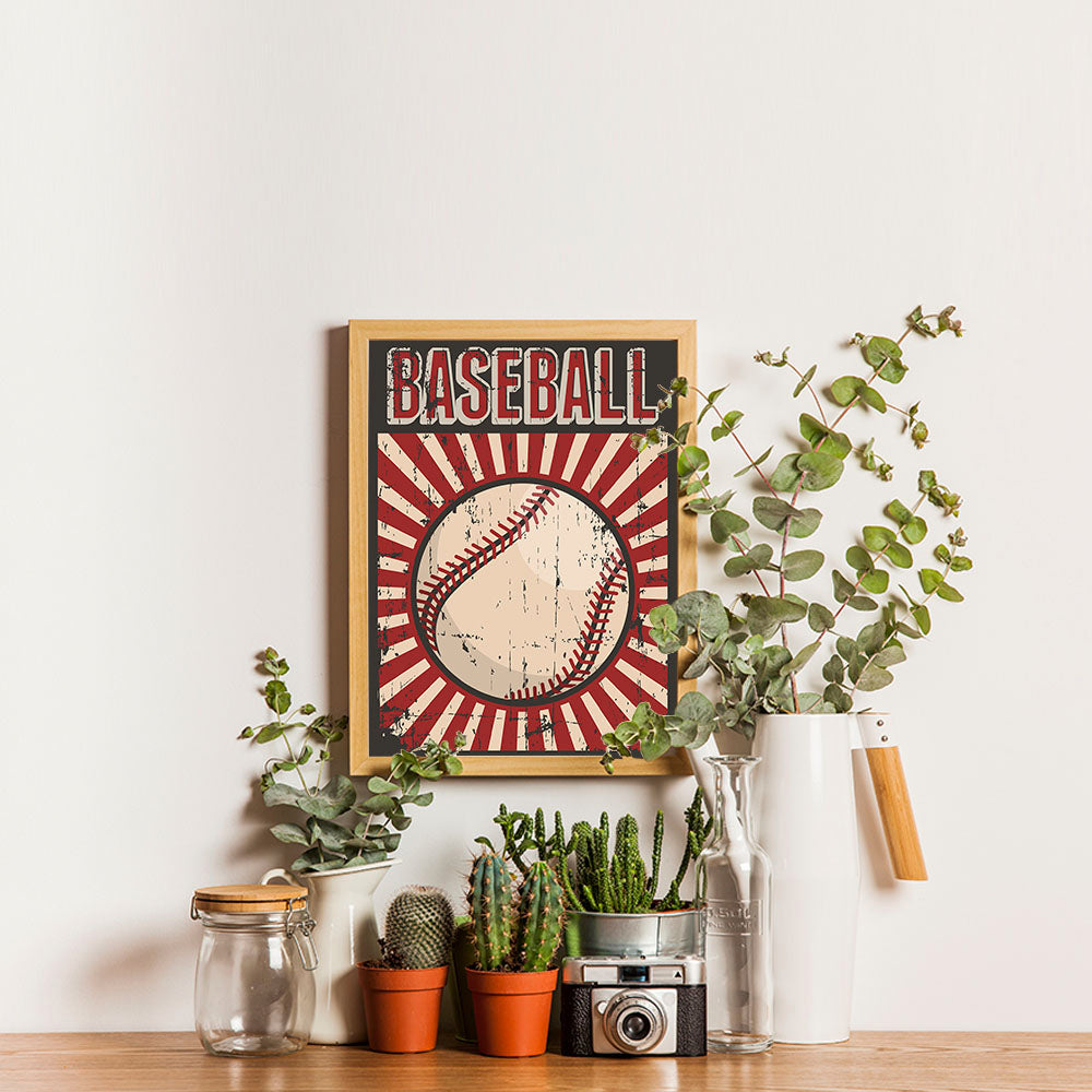 Ezposterprints - Ball Dark Red | Retro Sports Series BASEBALL Posters - 12x16 ambiance display photo sample