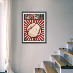 Ezposterprints - Ball Dark Red | Retro Sports Series BASEBALL Posters - 18x24 ambiance display photo sample