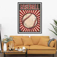 Ezposterprints - Ball Dark Red | Retro Sports Series BASEBALL Posters - 36x48 ambiance display photo sample